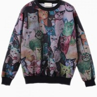 Black Colorful Cat Print Sweatshirt