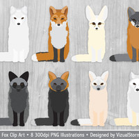 Fox Clipart Woodland Animal Clipart, Fox Clip Art Scrapbooking, Foxes Clipart, Forest Clipart, Digital Fox Illustration Woodland Animals