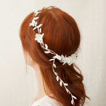 White flower crown, bridal circlet, floral head wreath, wedding hair accessories - dove song