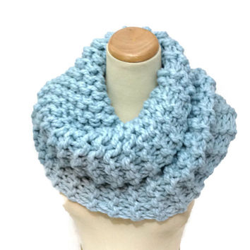Glacier Blue Cowl, Outlander Insprired Cowl, Claire Inspired, Hand Knit Cowl, Circle Scarf, Blue Scarf, Bulky Cowl, Bulky Scarf, Winter