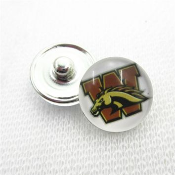 10pcs NCAA Western Michigan Broncos Snap Buttons 18mm Sports snap buttons Diy Snaps Jewelry Bracelet&bangles charms
