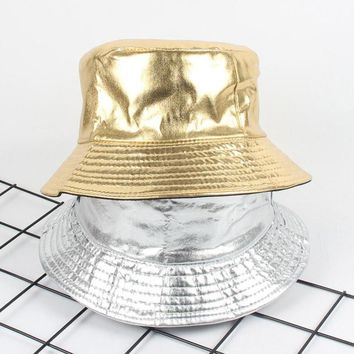 European Two Side Reversible Bucket Hat cap street golden Bob Caps Hip Hop Gorros Men panama Caps Sun Fishing boonie Hat silver