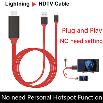 1080P Adapter Phone to TV For lightning to HDMI HDTV AV Video USB Charging Cable For iPad iPhone 7 6 6S Plus 5 5s NO need Wifi