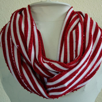 Red and White Stretch Knit Infinity Scarf, Cowl Scarf, Ready to Ship