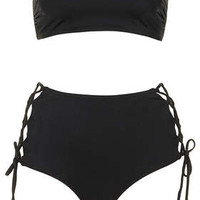 Lattice High Waisted Bikini - Black
