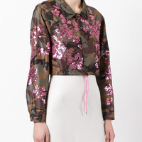 Gcds Sequined Camouflage Print Cropped Jacket - Farfetch