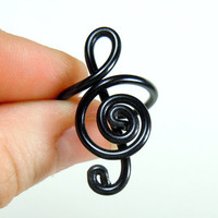 Treble Clef Adjustable Ring in Black