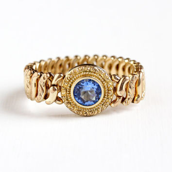 Vintage 10k Gold Filled Simulated Blue Sapphire Expansion Bracelet - 1940s American Queen Pitman Keeler Expansion Sweetheart Jewelry