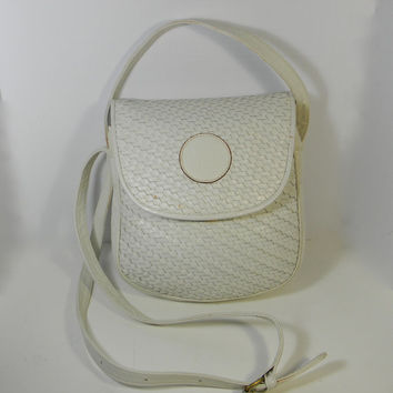 Authentic Fendi Purse in soft white leather with shoulder strap - circa 1970