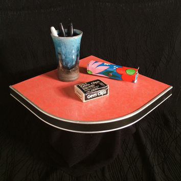 Vintage Boomerang Floating Corner Wall Shelf 50s salmon PINK formica Mid Century home house fixture 1950's Display RARE