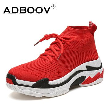 ADBOOV 2018 High Top Fashion Sneakers Women Breathable Knit Upper Platform l Shoes Women Black/Red
