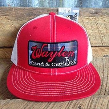 Waylen Land & Cattle Hat Vintage Pearl Snap Red/white Mesh Snapback Cap OSFA
