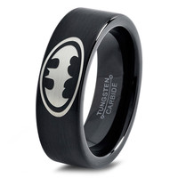 Batman Ring Comics Ring Fathers Day Gift Mens Fanatic Superhero Boys Girls Womens Jewelry Batman Ring Comics Ring Fathers Day Gift Tungsten Carbide 257