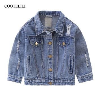 Trendy COOTELILI 80-130cm Fashion 2018 Spring Kids Girls Coat For Boys Windbreaker Children Clothes Distrressed Denim Jean Jacket AT_94_13