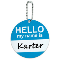 Karter Hello My Name Is Round ID Card Luggage Tag