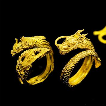 Vintage Couple Gold dragon and phoenix engagement ring bague adjustable love wedding rings gifts for men women jewelry sieraden