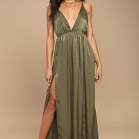 Uncharted Waters Olive Green Satin Maxi Dress