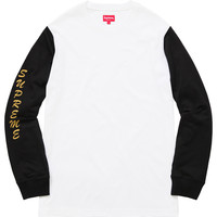Supreme: 2-Tone Sleeve Logo L/S Top - White
