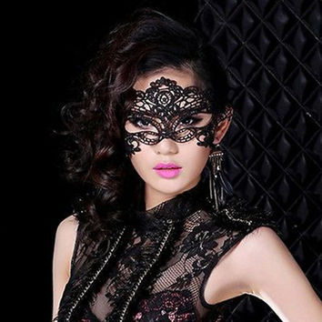 Sexy Black Fancy Dress Lace Venetian Mask Masquerade Ball Prom Halloween Costume  Free Shipping