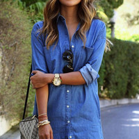 Blue Scalloped Mini Dress