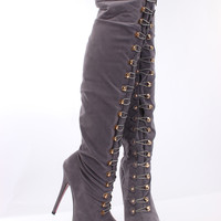 Grey Faux Suede Hook Loop Thigh High Boots