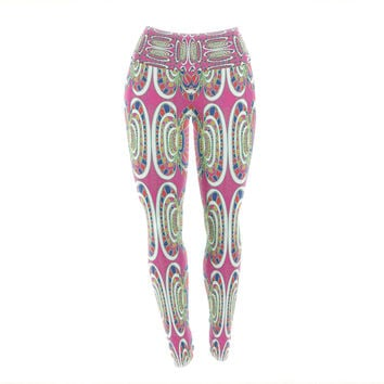 "Miranda Mol ""Bohemian Wild"" Pink Abstract Yoga Leggings"