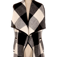Out of Towner Checkered Vest - Black + White