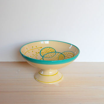 Cake stand One of a kind bowl Ceramic serving bowl Ceramic and pottery Clay bowl Serving food Modern potteryTurquoise ceramics bowl handmade