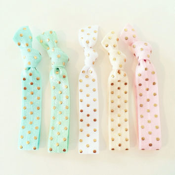 Pastel Dots Hair Tie Set // Gold Polka Dot + Pastel Creaseless Elastic Hair Tie Bracelets, Gold Dot Hair Ties, Pink Mint White Ivory Aqua