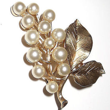 Crown Trifari Pin Brooch Faux Pearl Brushed Grape Leaf
