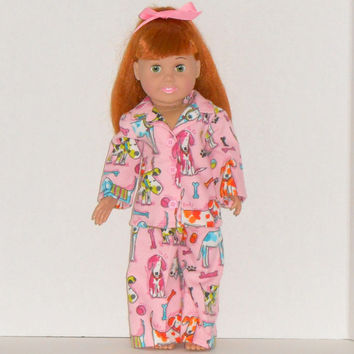American Girl Doll Clothes Pink Flannel Pajamas with Dogs