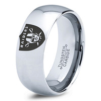 Oakland Raiders Ring Mens Fanatic NFL Sports Football Boys Girls Womens NFL Jewelry Fathers Day Gift Tungsten Carbide 013b
