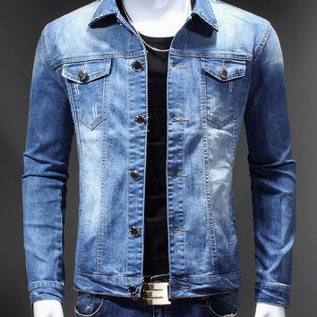 Bleach Wash Back Applique Design Turn-Down Collar Long Sleeve  Denim Jacket