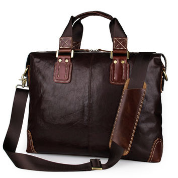 Real Cow Leather Laptop Bag Men's Briefcase Handbag_Briefcase Handbags_Men's Leather Bags