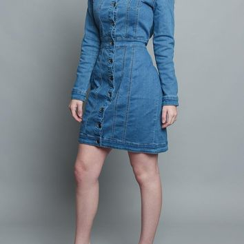Off the Shoulder Denim Dress RSD3077 - G17E