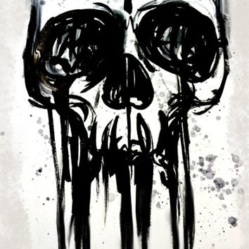 Ink Skull Splattered, archival paper print