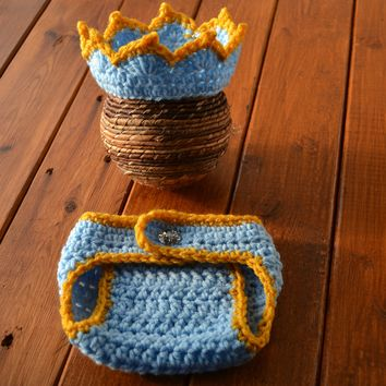 Crochet Prince Baby Newborn Boy Photo Outfit
