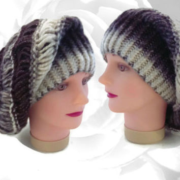 Handmade Knitted Hat, Winter Hat, Multicolor Hat, Slouchy Hat, French Beret, Cream Hat, Gray Hat, Black Hat, Autumn Hat, Versatile Hat