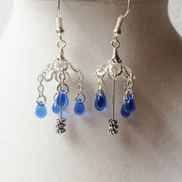 Silver Umbrella Earrings with Dangling Blue Glass Raindrops, Gifts For Her