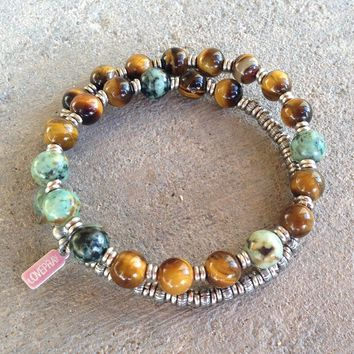 Prosperity and Change, Tiger's Eye and African Turquoise 27 Bead Unisex Wrap Mala Bracelet