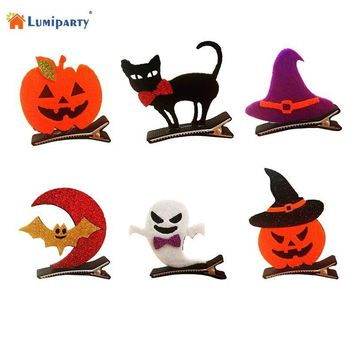 LumiParty Children Funny Cosplay Decor Halloween Party Dress up Stereo Barrette Bat Pumpkin Witch Cap Hair Clip-25