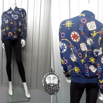 Vintage 90's Nautical Print Bomber Jacket Alfred Dunner Petite Chain Print Seapunk Hipster Jacket Printed Bomber Jacket All Over Print