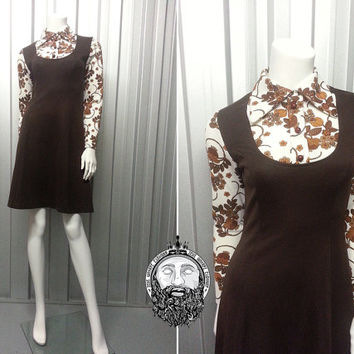 Vintage 70s Brown Psychedelic Print Dagger Collar Dress Shift Dress Ditsy Floral Pinafore Style  60s Mod Gogo Dress Boho Chic Faux Buttons