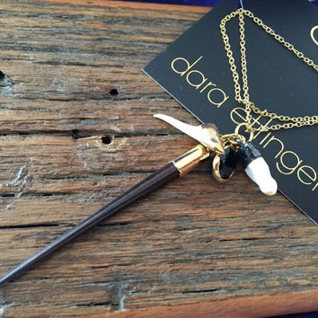 SALE Dara Ettinger 14kt Gold dipped Porcupine Quill, Shark and Alligator Tooth, and Cubic Zirconium Necklace