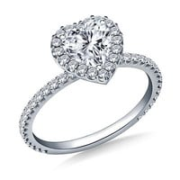 1.00 ct. t.w. Heart-Shaped and Round Diamond Halo Engagement Ring in 14K White Gold