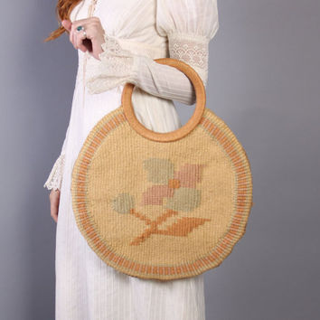 70s WOVEN Boho PURSE / Soft Floral Jute ROUND Tote Bag