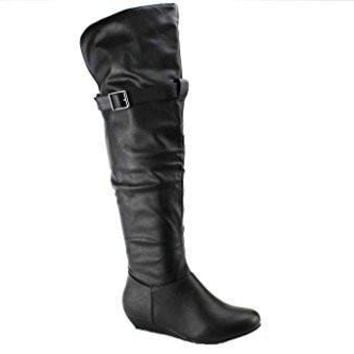 Women's Karyn's BDW-11 Tall Ruched Over-the-Knee Wedge Boots