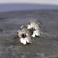 Cherry Blossom Earrings Sterling silver by Hapagirls on Etsy