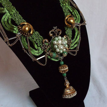 Royal Green Necklace Emerald silk bib necklace by HopscotchCouture