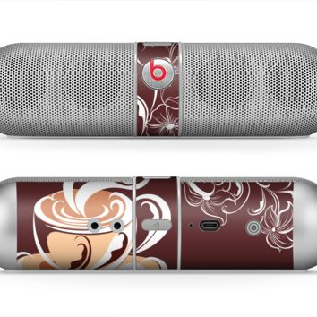 The Steaming Vector Coffee Floral Skin for the Beats by Dre Pill Bluetooth Speaker
